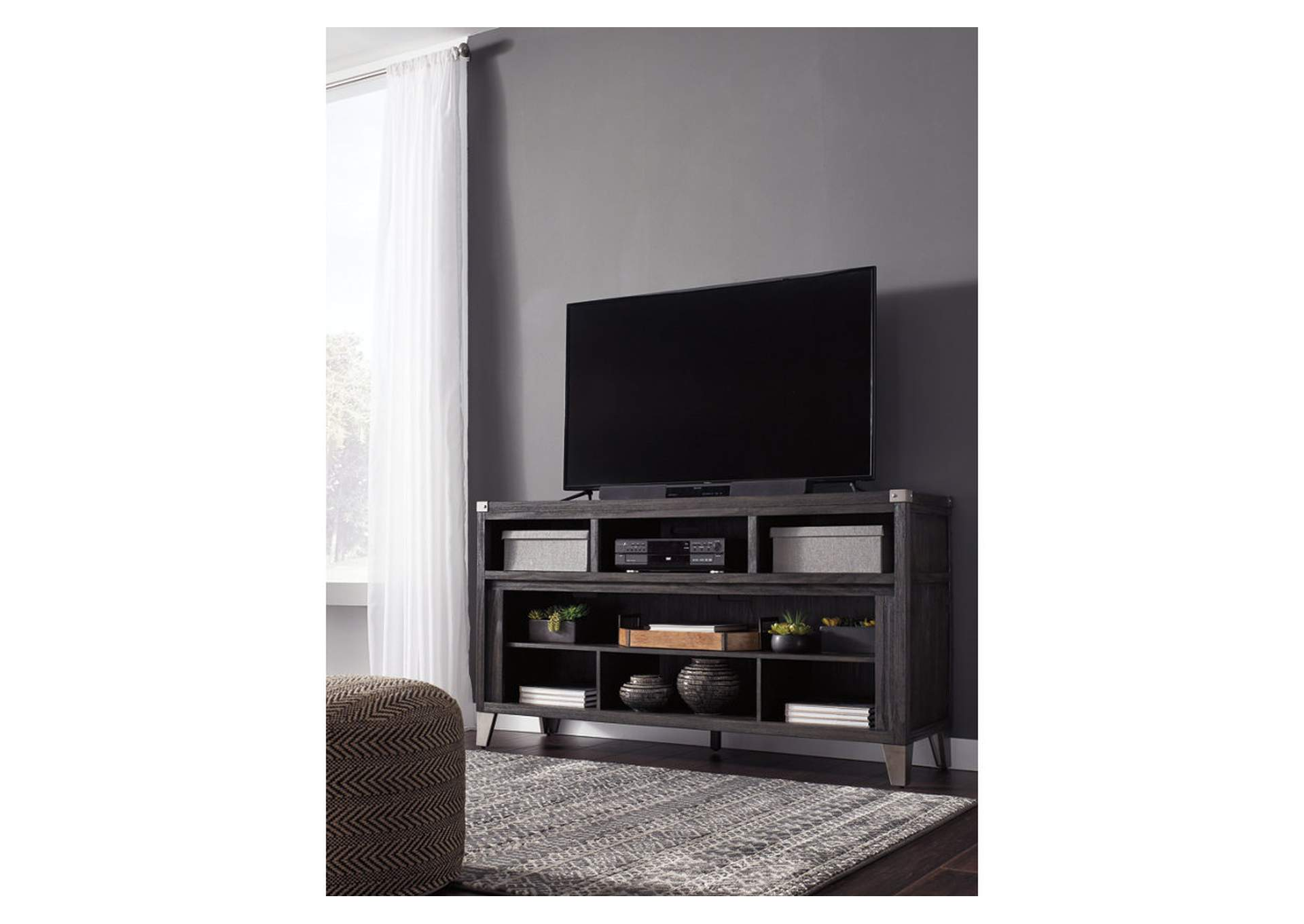 Todoe Dark Gray Large TV Stand w/Fireplace Option,Signature Design By Ashley