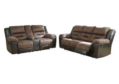 Earhart Chestnut Reclining Sofa & Loveseat w/Console