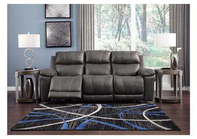 Erlangen Midnight Power Reclining Sofa w/Adjustable Headrest,Signature Design By Ashley