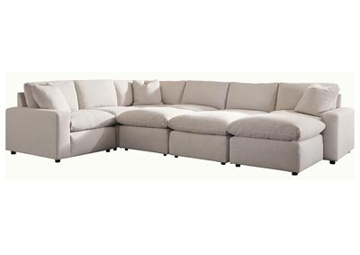 Savesto Ivory 6 Piece Sectional w/3 Ottomans