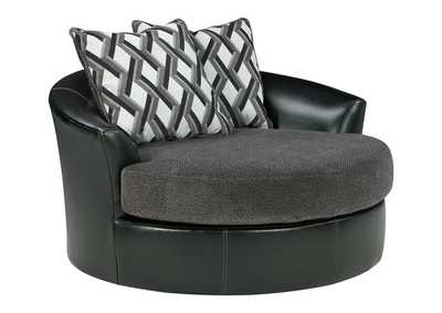 Image for Kumasi Smoke Oversized Swivel Accent Chair