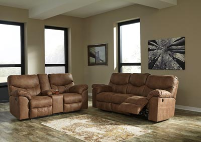 Image for Boxberg Bark Reclining Power Sofa & Double Reclining Power Loveseat w/Console