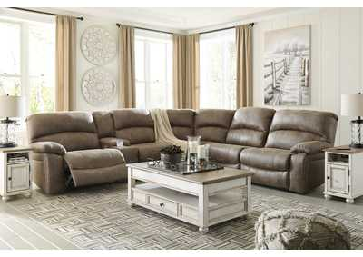 Segburg Driftwood Sectional w/Console,Benchcraft