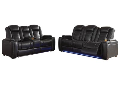 Party Time Midnight Power Reclining Sofa & Loveseat w/Adjustable Headrest
