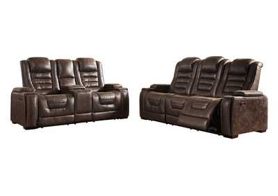 Image for Game Zone Power Reclining Sofa & Loveseat w/Adjustable Headrest