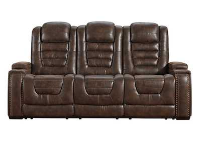 Game Zone Power Reclining Sofa w/Adjustable Headrest
