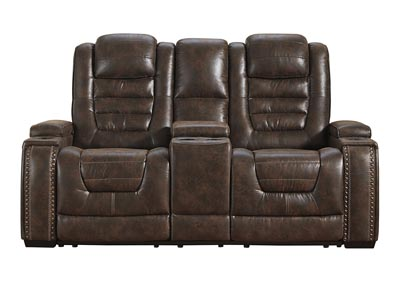 Game Zone Power Reclining Loveseat w/Adjustable Headrest & Console