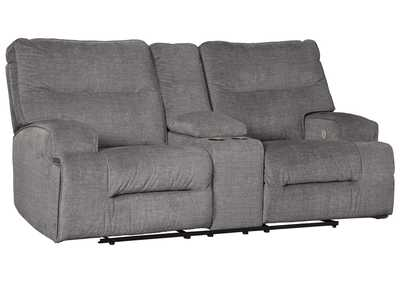 Image for Coombs Charcoal Power Reclining Loveseat with Console