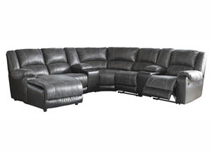 Image for Nantahala Slate LAF Corner Chaise Sectional w/2 Storage Console