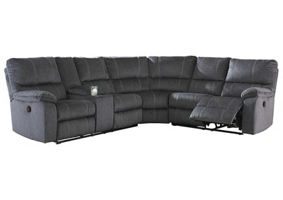 Urbino Charcoal Reclining Sectional w/Console