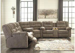 Image for Workhorse Cocoa Reclining Sectional w/Console