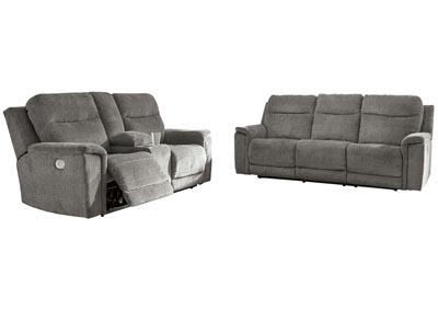 Image for Mouttrie Smoke Power Reclining Sofa and Loveseat w/Console