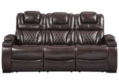 Image for Warnerton Chocolate Power Reclining Sofa w/Adjustable Headrest