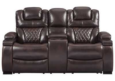 Image for Warnerton Chocolate Power Reclining Loveseat w/Console and Adjustable Headrest
