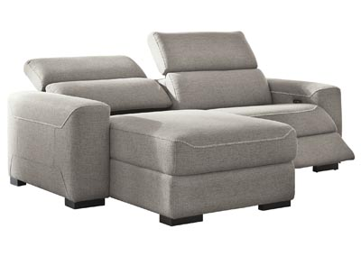 Mabton Gray Left-Arm Facing Power Reclining 2 Piece Sectional Chaise