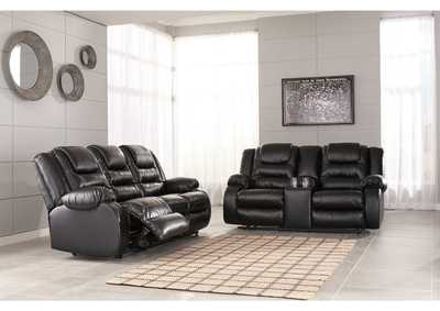 Image for Vacherie Black Reclining Sofa and Double Loveseat w/Console