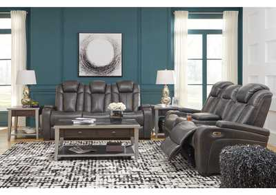 Turbulance Quarry Leather Power Reclining Sofa & Loveseat w/Adjustable Headrest & Console,Signature Design By Ashley