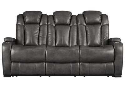 Turbulance Quarry Leather Power Reclining Sofa w/Adjustable Headrest