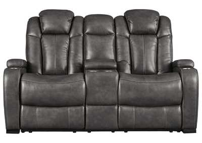 Turbulance Quarry Leather Power Reclining Loveseat w/Adjustable Headrest & Console