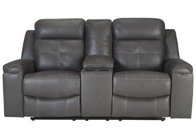 Image for Jesolo Dark Gray Double Recliner Loveseat w/Console