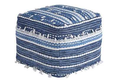 Image for Anthony Blue/White Pouf