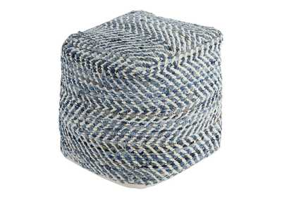 Image for Chevron Blue Pouf