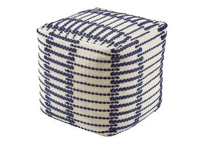 Image for Lanka Blue/White Pouf