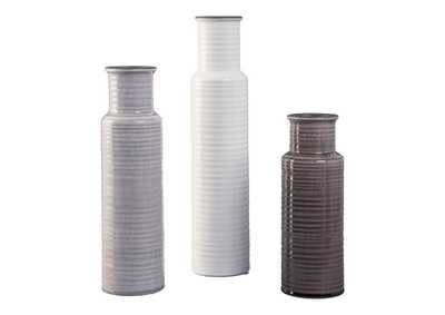 Image for Deus Gray/White/Brown Vase Set (Set of 3)
