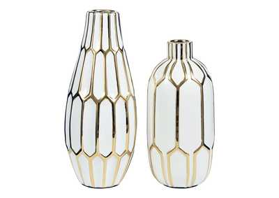 Image for Mohsen Gold/White Vase (Set of 2)