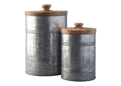 Divakar Antique Gray Jar Set (Set of 2)