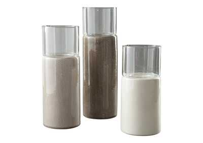 Image for Deus Gray/White/Brown Candle Holder (Set of 3)
