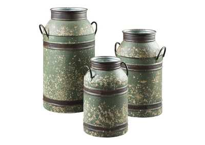 Elk Antique Brown 3 Piece Milk Can Set