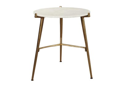 Chadton White/Gold Accent Table