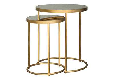 Image for Majaci Gold Finish/White Accent Table (Set of 2)