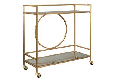 Jackford Antique Gold Finish Bar Cart