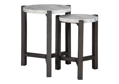 Image for Crossport Gray/White/Brown Accent Table (Set of 2)