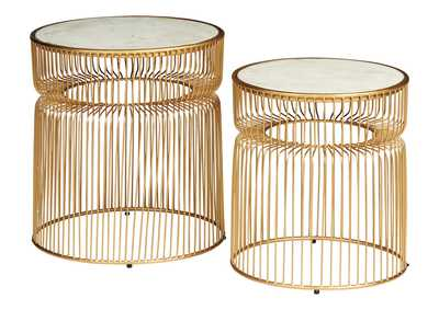 Image for Vernway White/Gold Finish Accent Table (Set of 2)