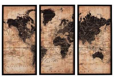 Image for Pollyanna World Map 3 Piece Wall Art Set