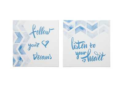 Image for Ellis Teal/White Wall Art Set (Set of 2)