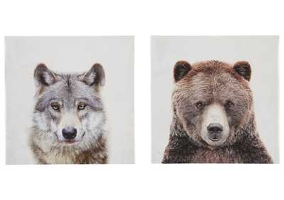 Image for Albert Wolf and Bear 2 Piece Wall Art Set