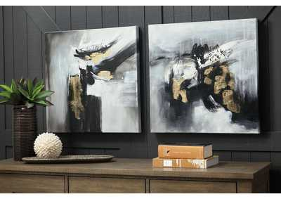 Jerrin Black/White/Gold Wall Art Set (Set of 2),Signature Design By Ashley