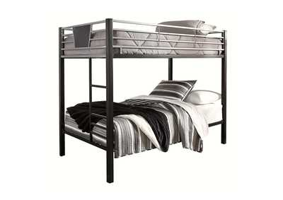 Dinsmore Black/Gray Twin Bunk Bed w/Ladder