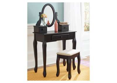 Image for Huey Vineyard Black Vanity w/Mirror & Stool