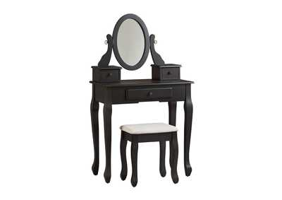 Image for Huey Vineyard Black Vanity and Mirror with Stool