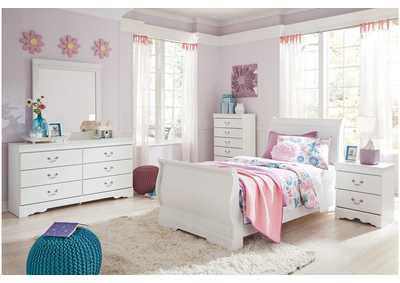 Image for Anarasia White Twin Sleigh Bed w/Dresser and Mirror