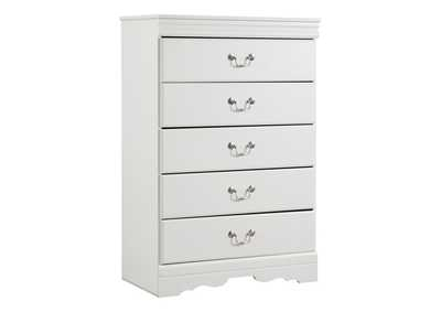 Image for Anarasia White Five Drawer Chest