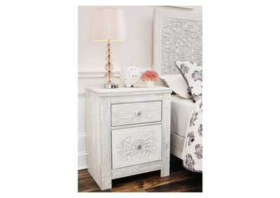 Image for Paxberry Whitewash Two Drawer Nightstand