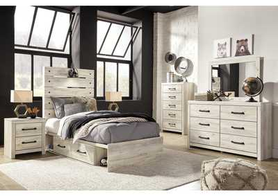 Image for Cambeck Twin Panel Bed with 4 Storage Drawers, Dresser and Mirror
