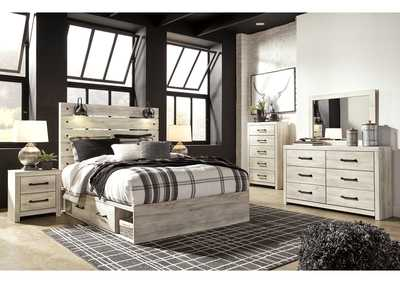 Cambeck Queen Panel Bed with 2 Storage Drawers, Dresser and Mirror