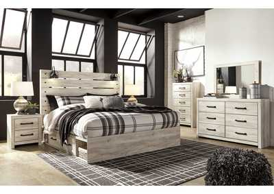 Cambeck King Panel Bed with 2 Storage Drawers, Dresser and Mirror